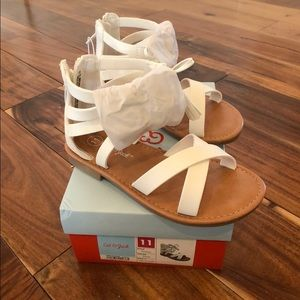 NWT Cat & Jack Paulina White Zip Sandals Sz. 11